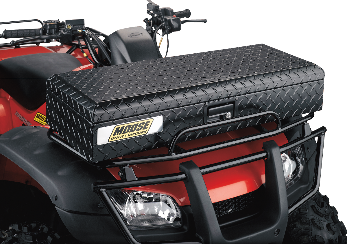 Moose Black Diamond Plate Front Lockable Latch ATV Cargo Storage Trunk Box
