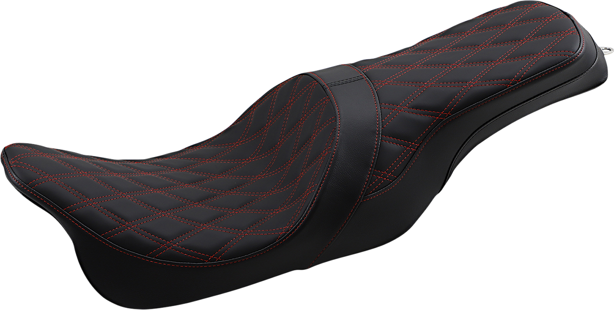 Drag Specialties Predator Black Red 2 Up Motorcycle Seat 08-20 Harley Touring