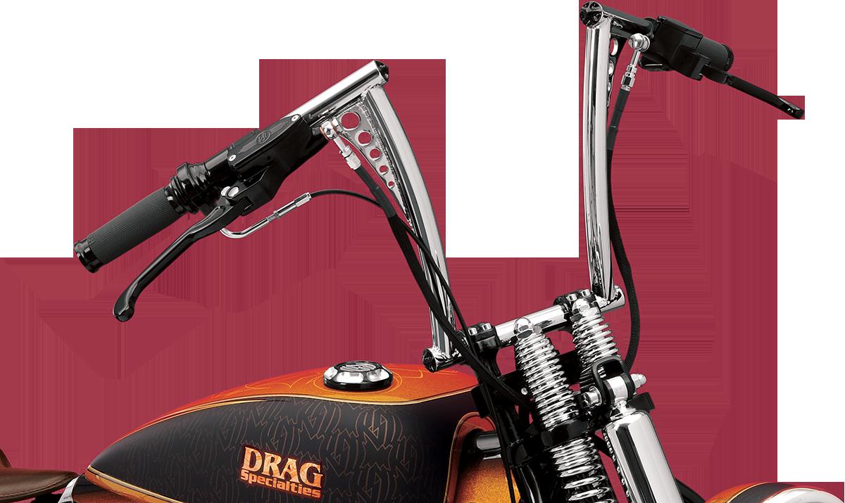 "RSD Front Chrome Vintage 12"" Springer Motorcycle Hand Handlebars Harley Davidson"