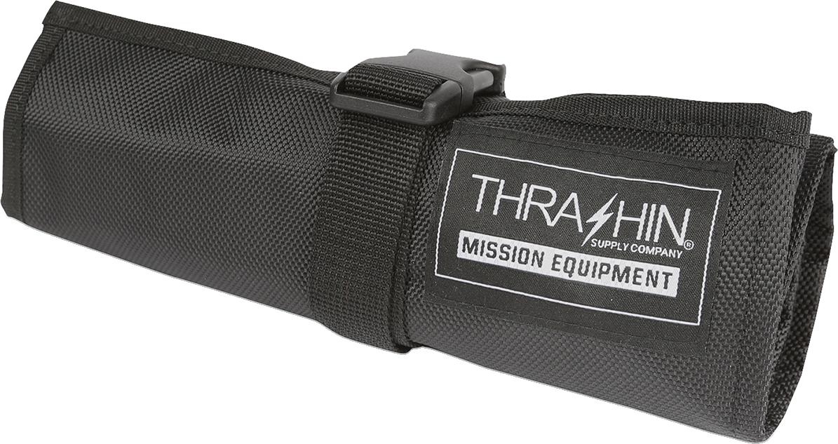 Thrashin Black Universal Motorcycle Front Handlebar Rear Sissybar Tool Roll Bag