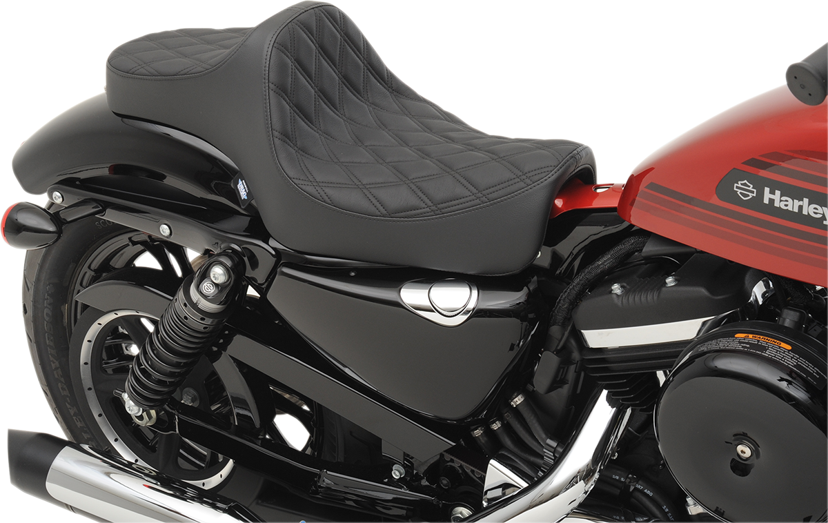 Drag Specialties Black Vinyl Diamond Predator Seat for 04-19 Harley Sportster