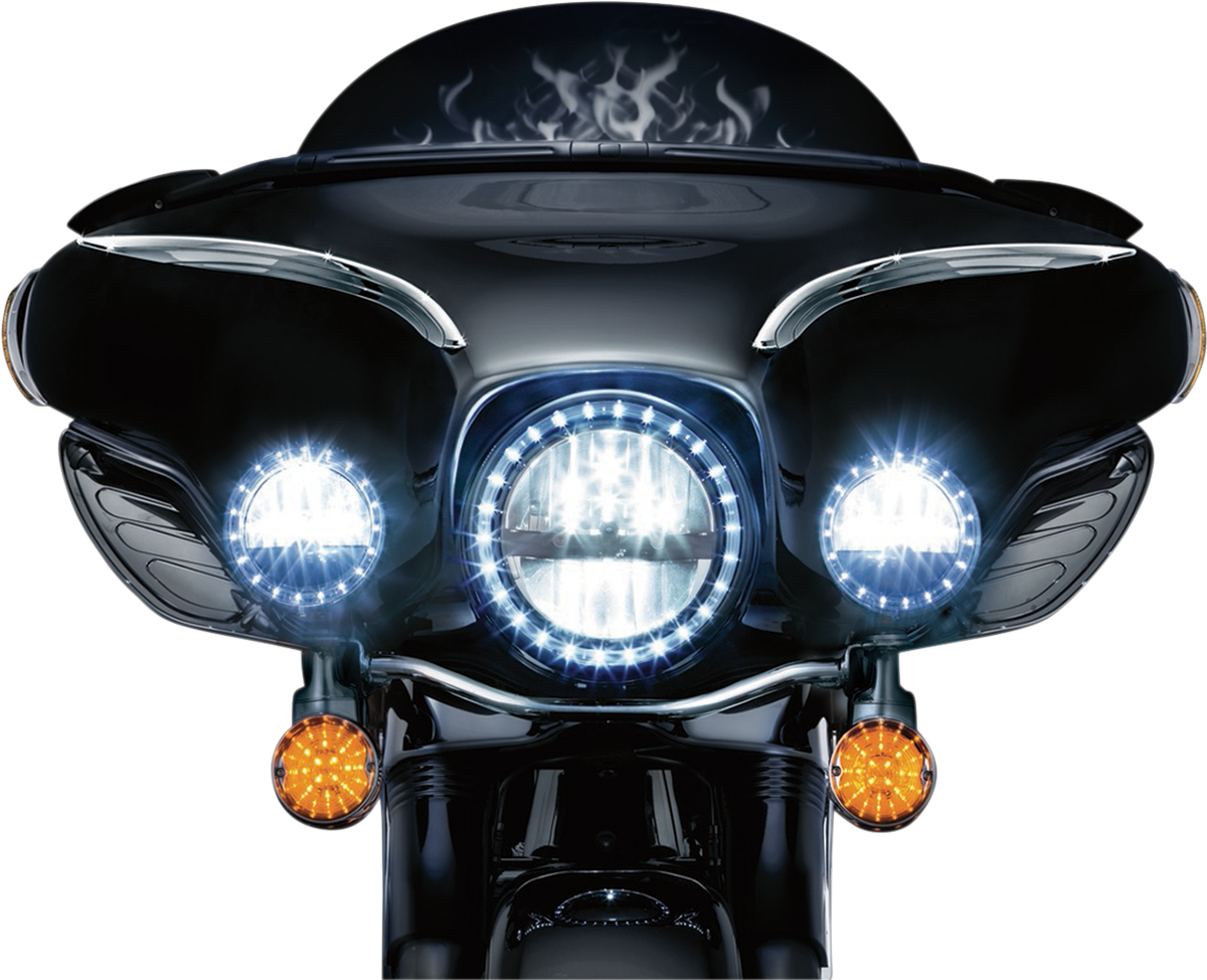 Kuryakyn 2249 Phase 7 Quot Clear Led Black Motorcycle Front