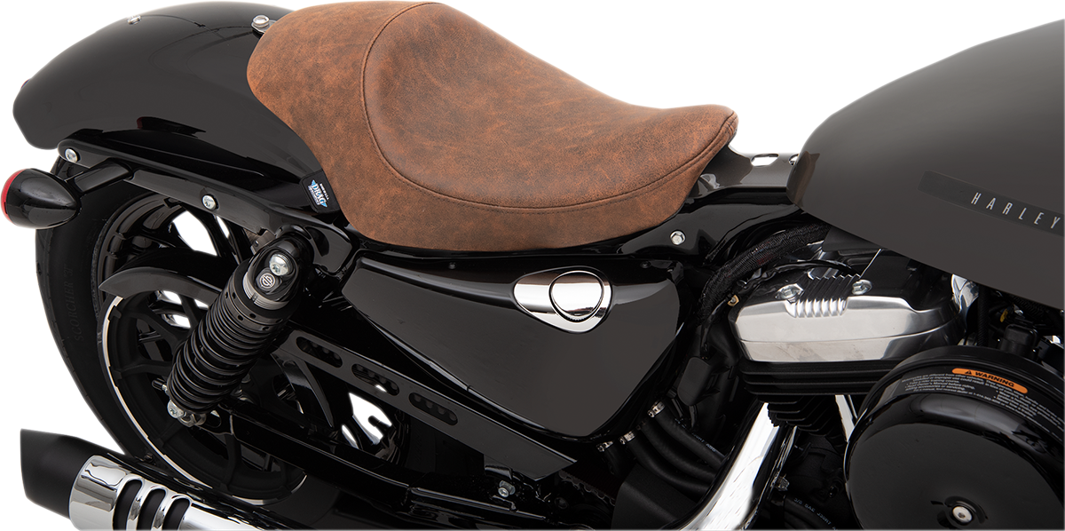 Drag Specialties Brown Leather 3/4 Solo Seat for 04-19 Harley Sportster XLL XLC