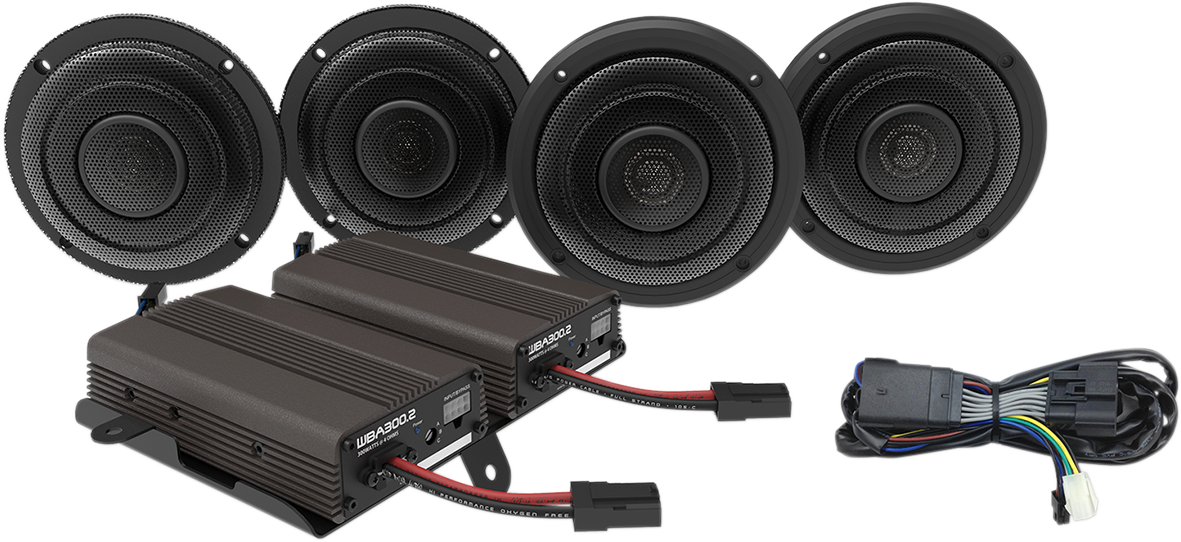 Wild Boar Audio Front Rear Speaker 600 Watt Amp Kit for 14-18 Harley Road Glide