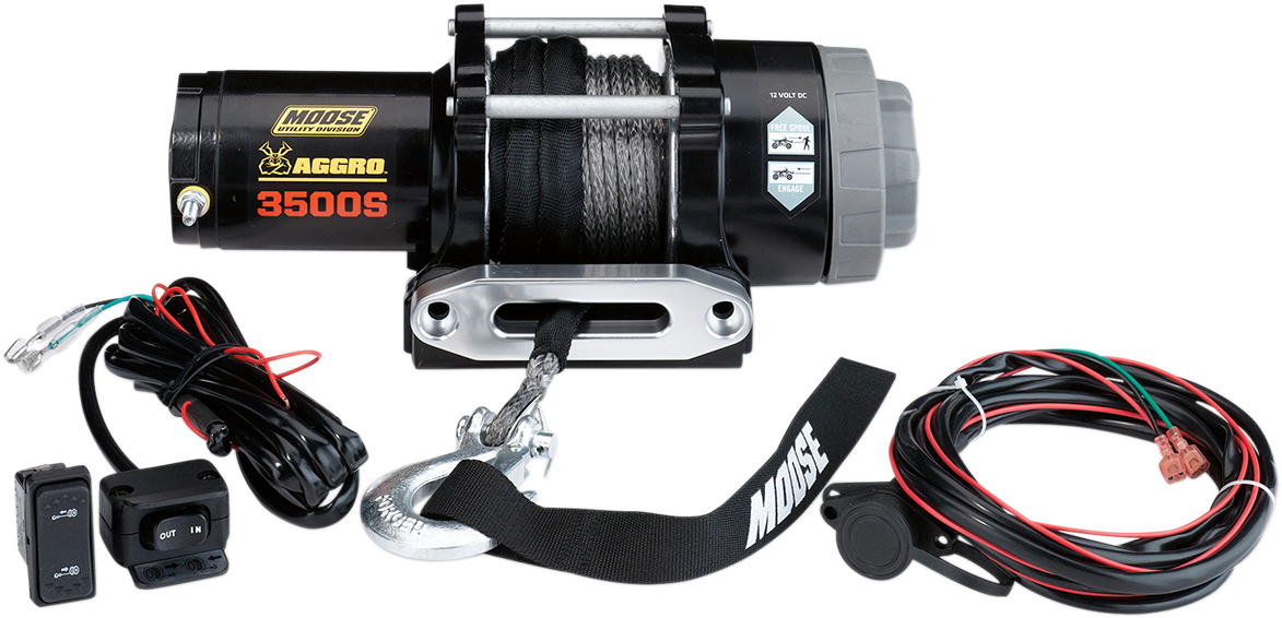 Moose Utility Black 3500 lb 50' Synthetic Rope Aggro UTV Winch