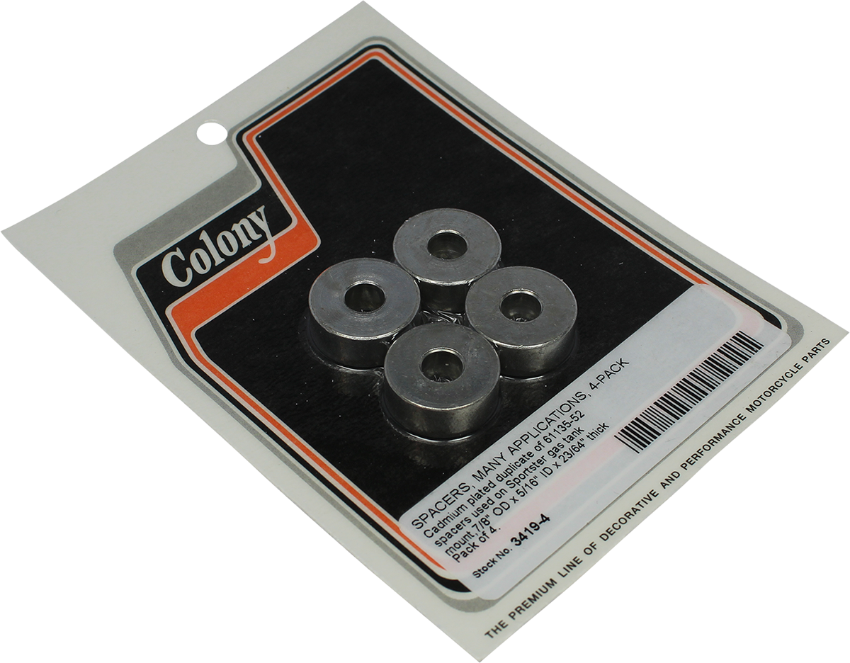 Colony 4 Pack Cadmium Plated Gas Tank Spacers 57-20 Harley Sportster XR XLH XLV