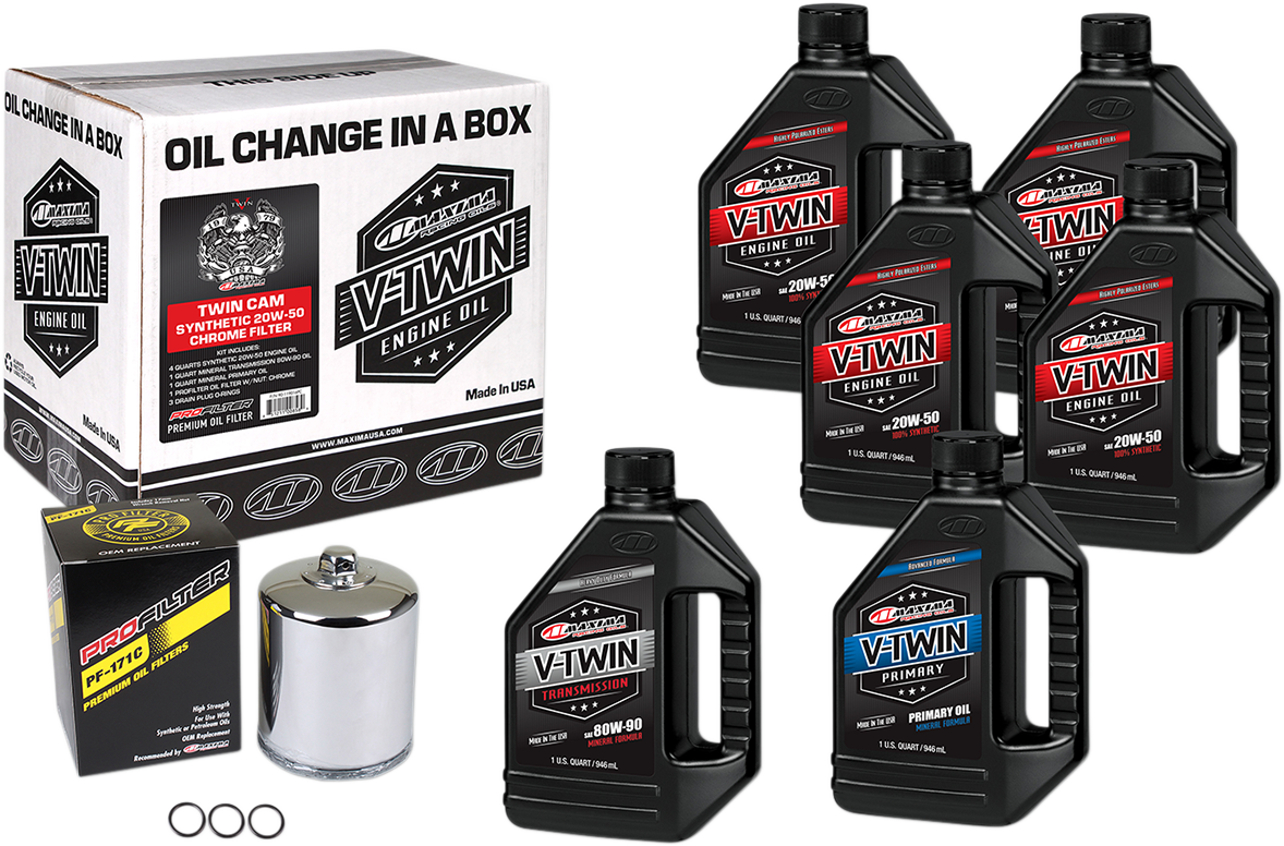 Maxima Twin Cam Oil Change Kit & Chrome Filter for 99-17 Harley Touring Softail