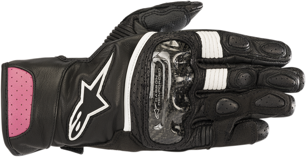 Alpinestars Black Pink Womens SP2 Leather Motorcycle Racing Street Riding Gloves