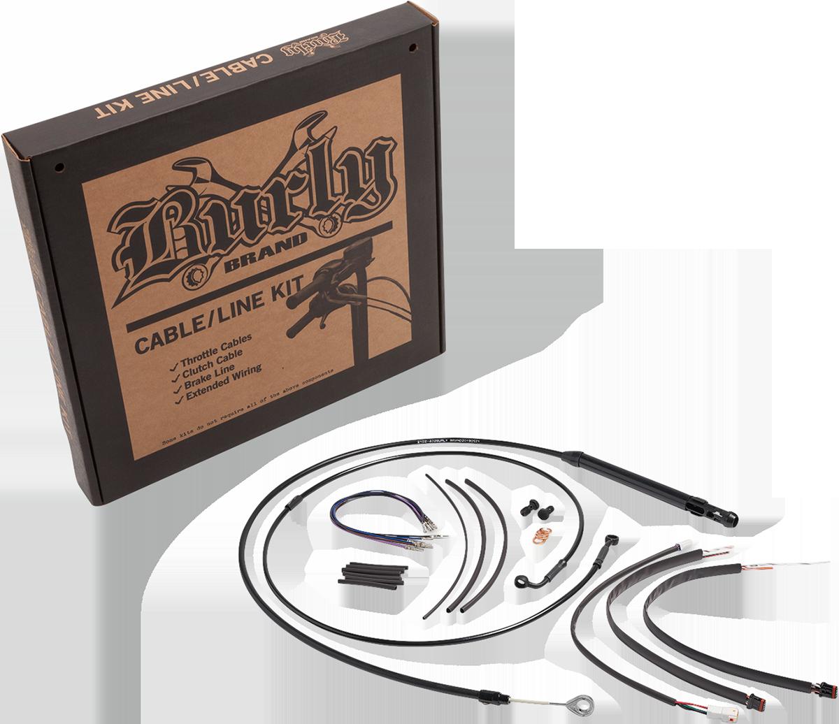 """Burly Brand 14"""" Non ABS Ape Hanger Gorilla Handlebar Cable Kit 18-20 Harley FLSL"""