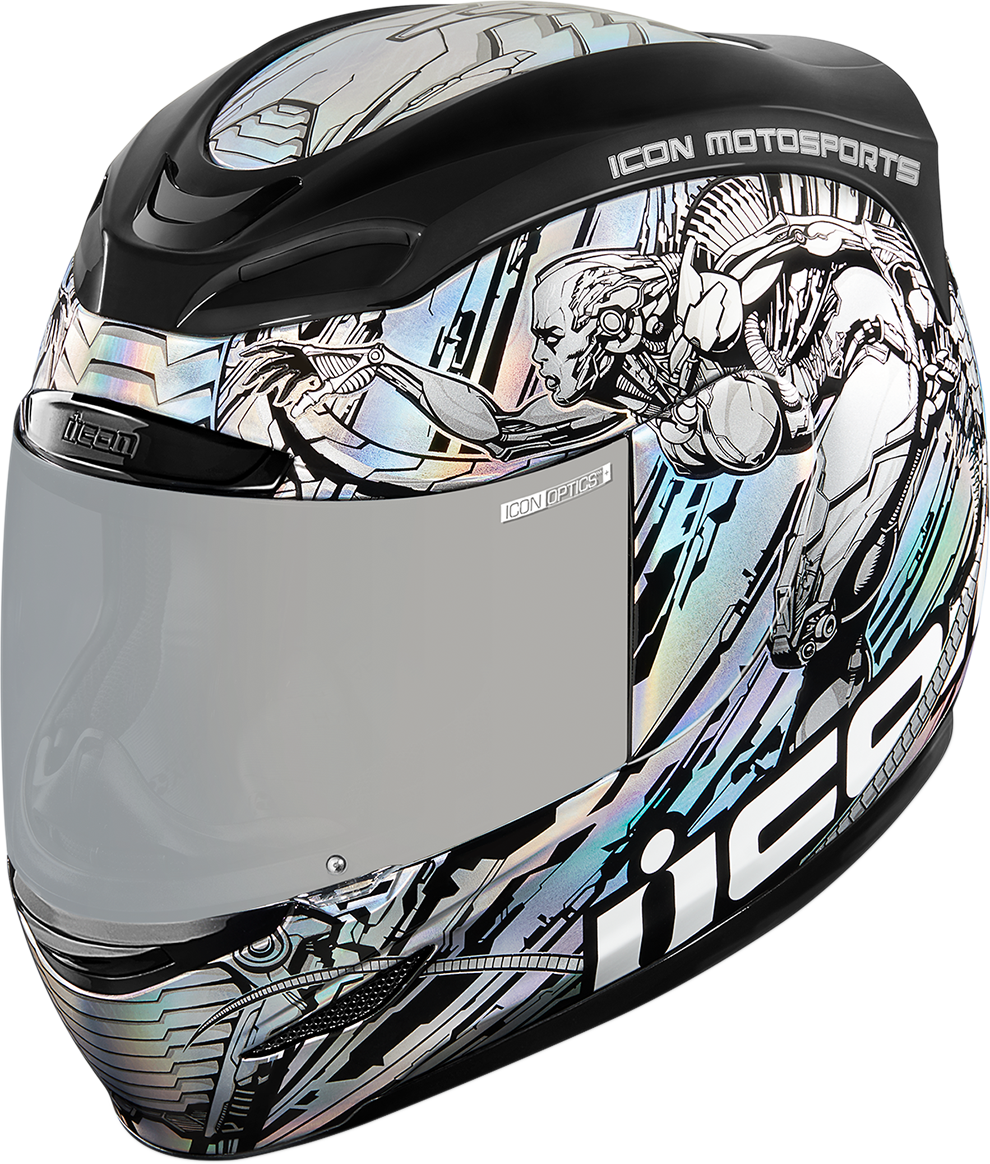 Icon Silver Airmada Mechanica Motorcycle Riding Street Racing Full Face Helmet