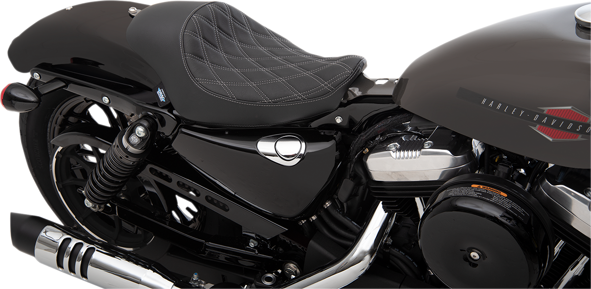 Drag Specialties Black Vinyl Silver Diamond Solo Seat for 04-19 Harley Sportster