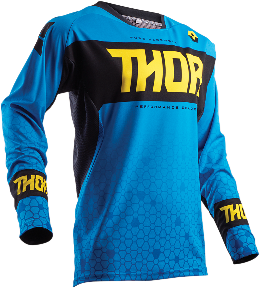 Thor Mens Mesh Long Sleeve Fuse Bion Blue Offroad Riding Dirt Bike Racing Jersey