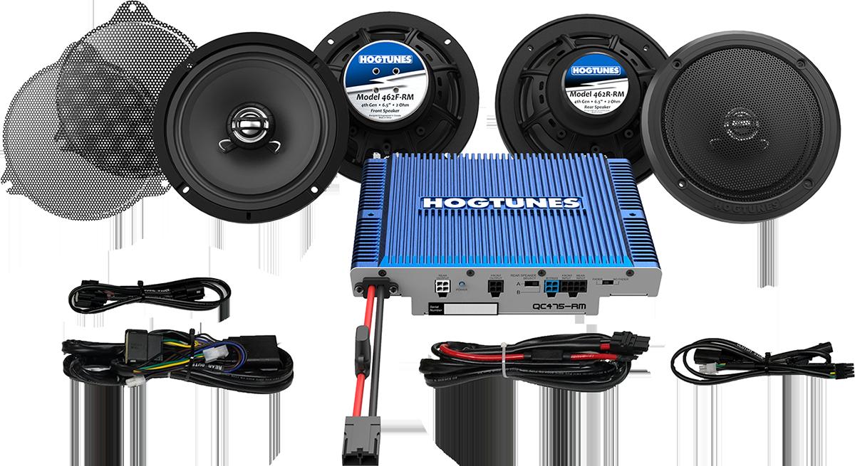 Hogtunes 300 Watt 4 Chanel Speaker & Amplifier Kit 14-21 Harley Touring FLHTK