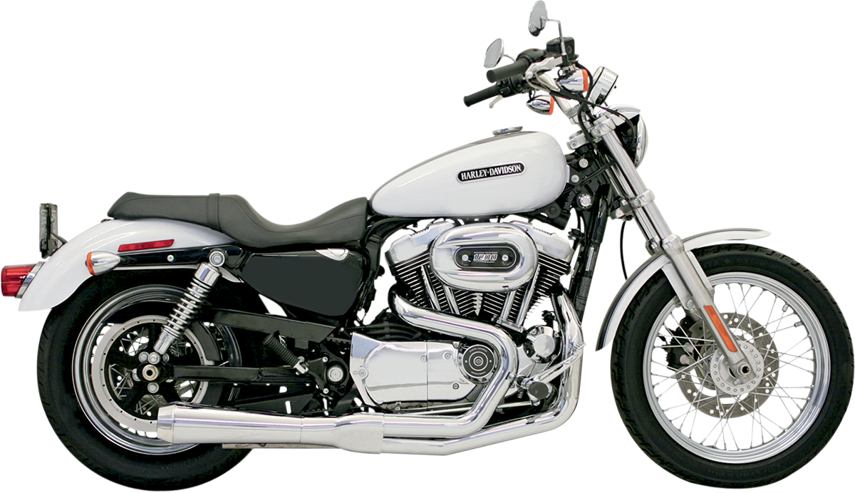Bassani Chrome 2-1 Road Rage Megaphone Short Exhaust for 04-13 Harley Sportster