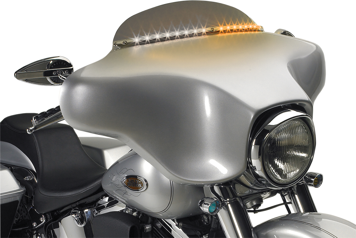 Cycle Visions Chrome LED Windshield Fairing Trim for 96-13 Harley Touring FLHT