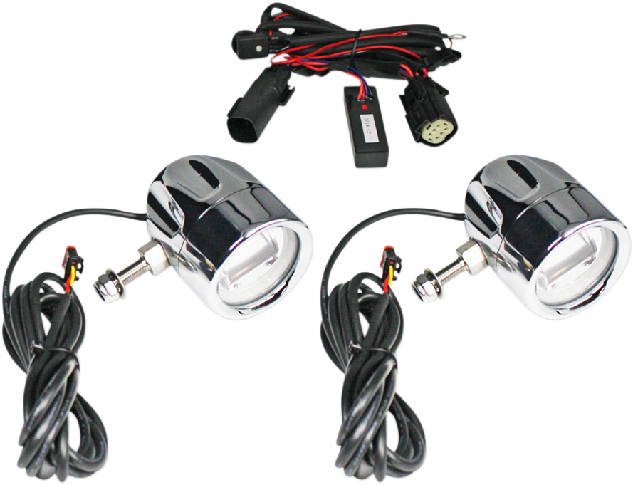 Custom Dynamics Chrome Fog Light Kit for 14-19 Harley Touring FLHX FLHTK FLHR