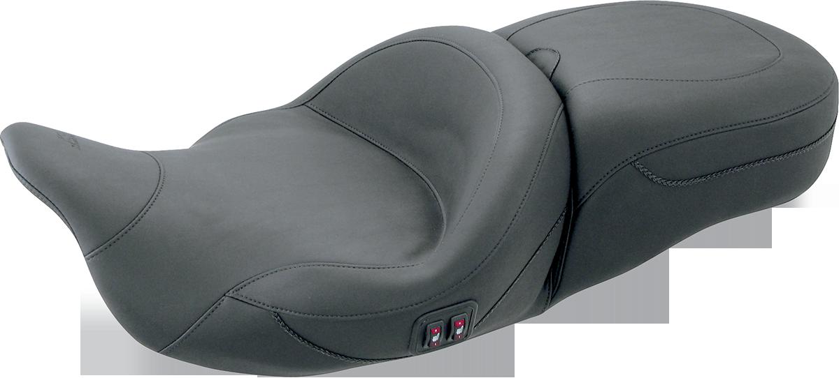 Mustang Black Heated 2-Up Vinyl Seat 08-19 Harley Touring FLHR FLHX FLTRU FLHTKL