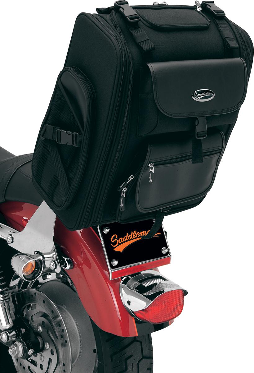 Kuryakyn S2200E Black Leather Zipper Sissy Backrest Bar Bag for Harley Davidson