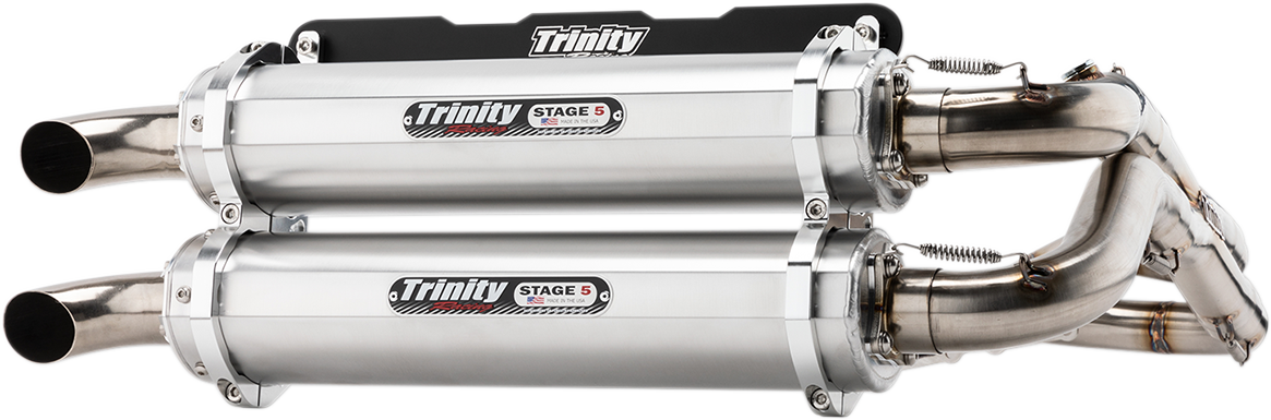 Trinity Racing Silver 2-2 Stage 5 UTV Exhaust for 18-19 Polaris RZR RS1 1000 4x4