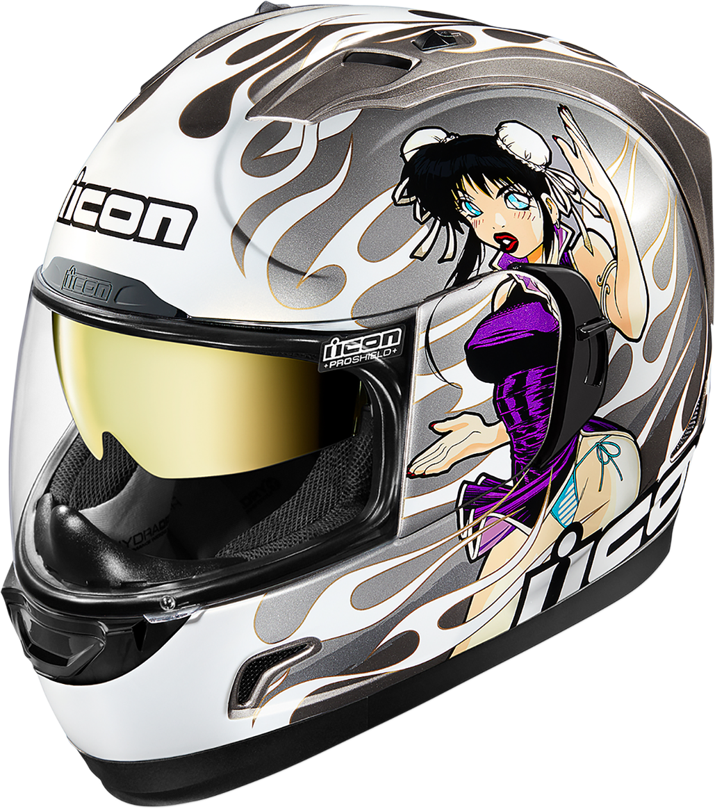 Icon Alliance GT Silver DL18 Fullface Motorcycle Street Racing Helmet CLOSEOUT