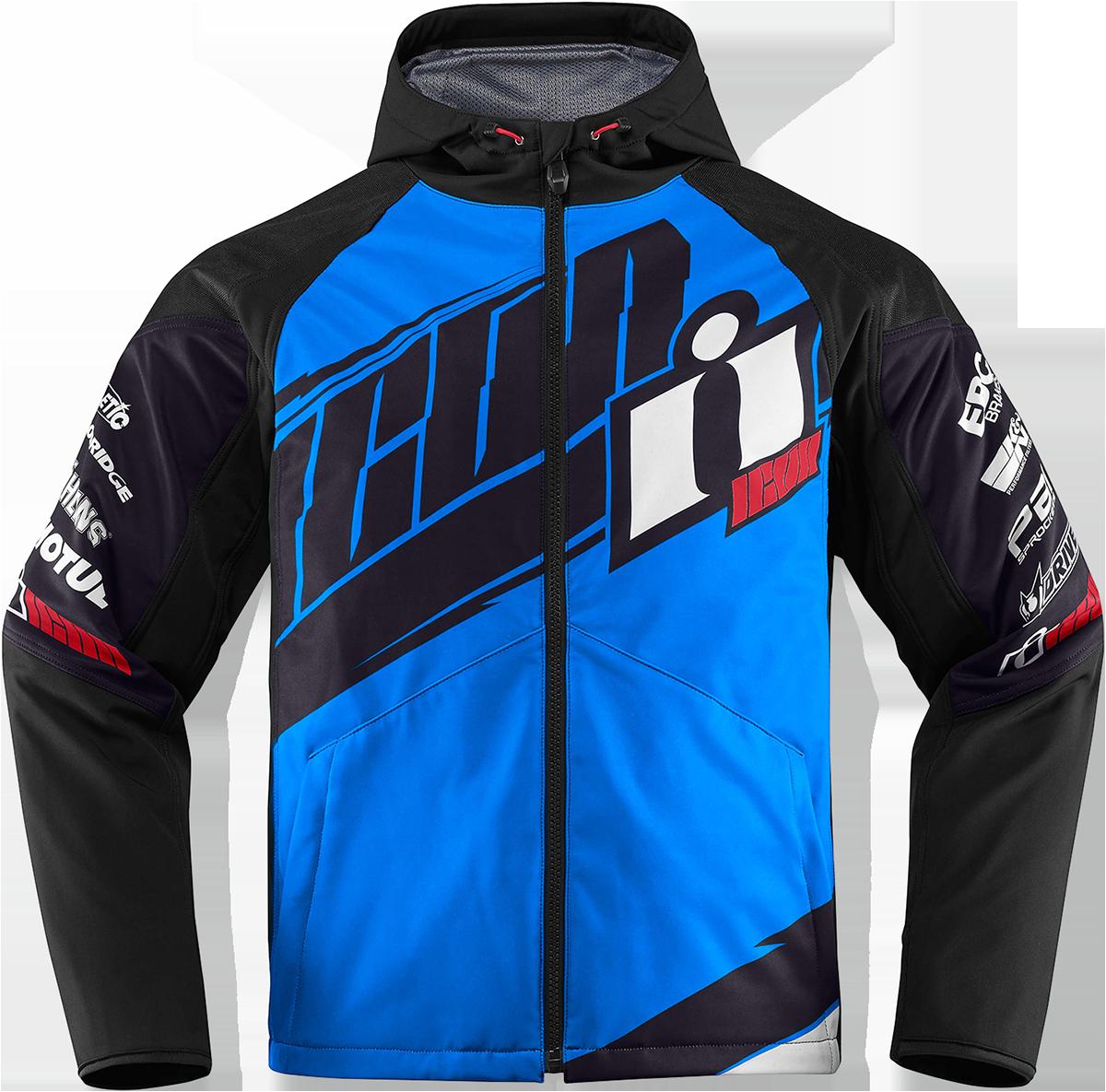 Icon Team Merc Mens Blue Medium Motorcycle Riding Street Racing Hooded Jacket