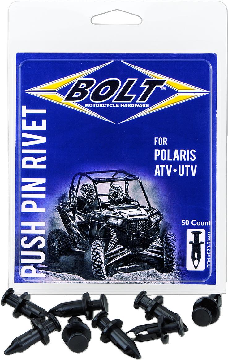 Bolt Black 50 Pack UTV Side by Side M8 Pry Rivet 09-20 Polaris RZR XP Pro Turbo