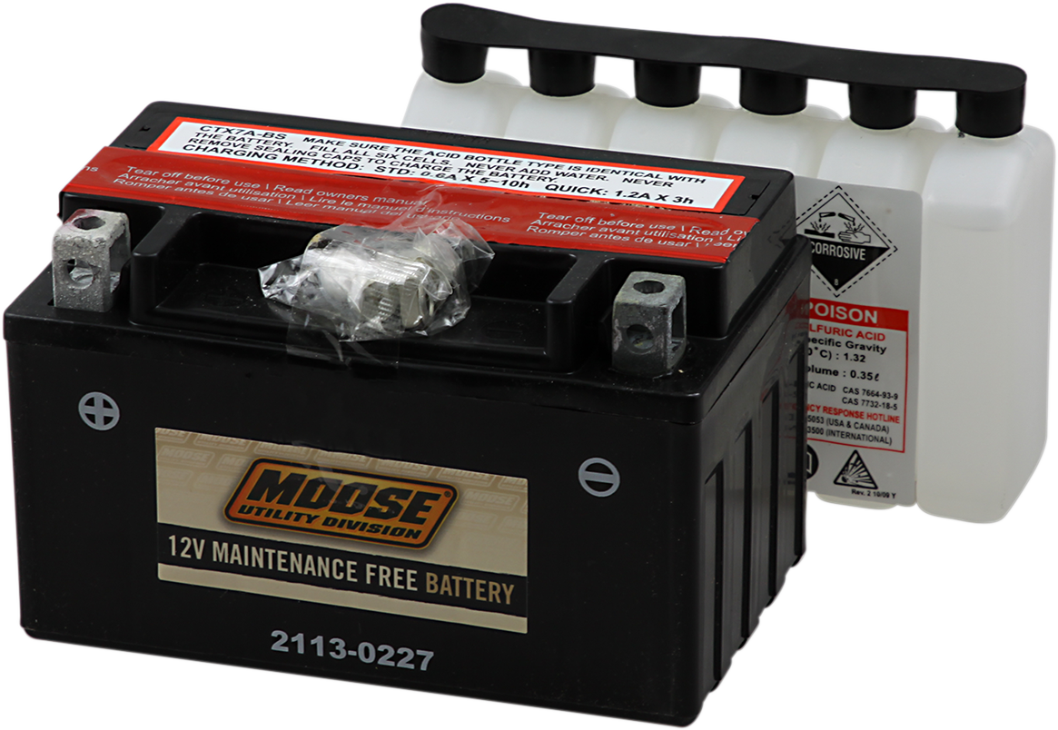 Moose YTX7A-BS Maintenance Free Battery for 00-11 Kasea Kawasaki Suzuki