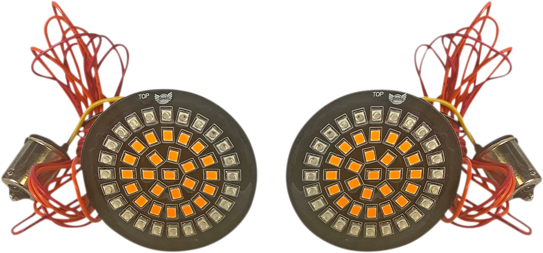 Custom Dynamics 1156 Red Amber LED Rear Bullet Turn Signal Inserts for Harley