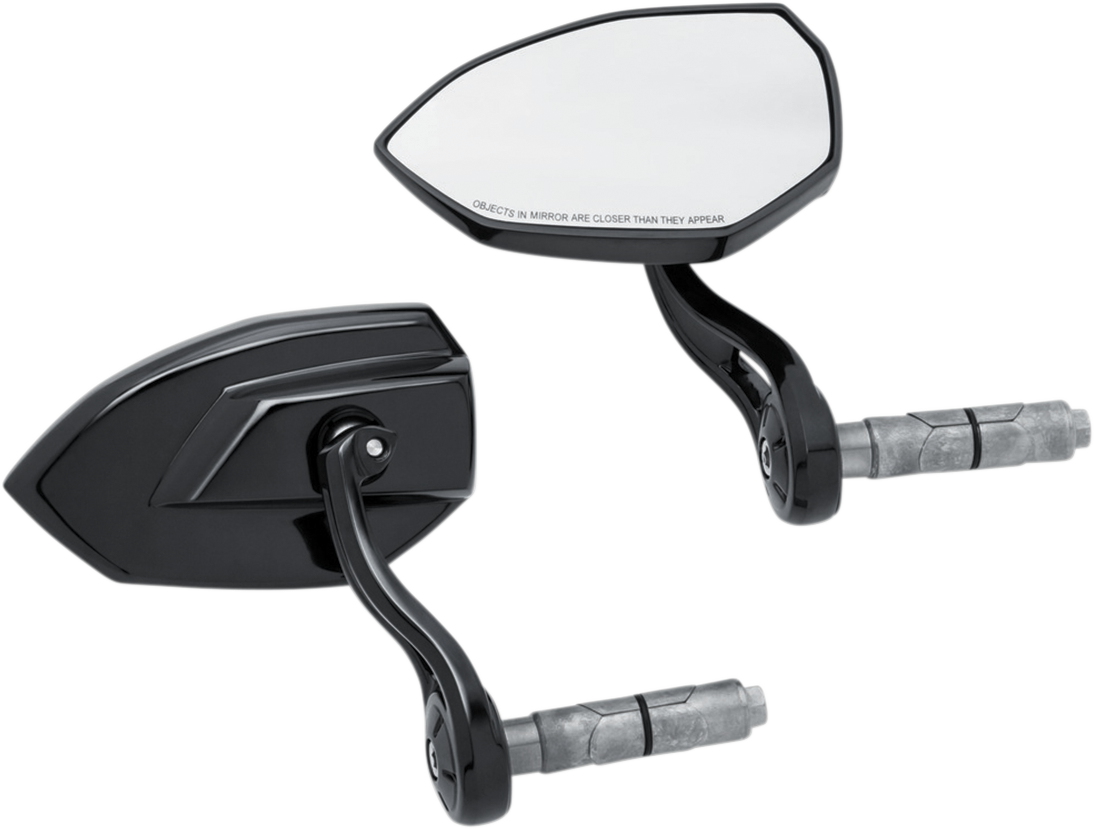 Kuryakyn 1959 Black Bar End Phantom Handlebar Mirrors for Harley Davidson