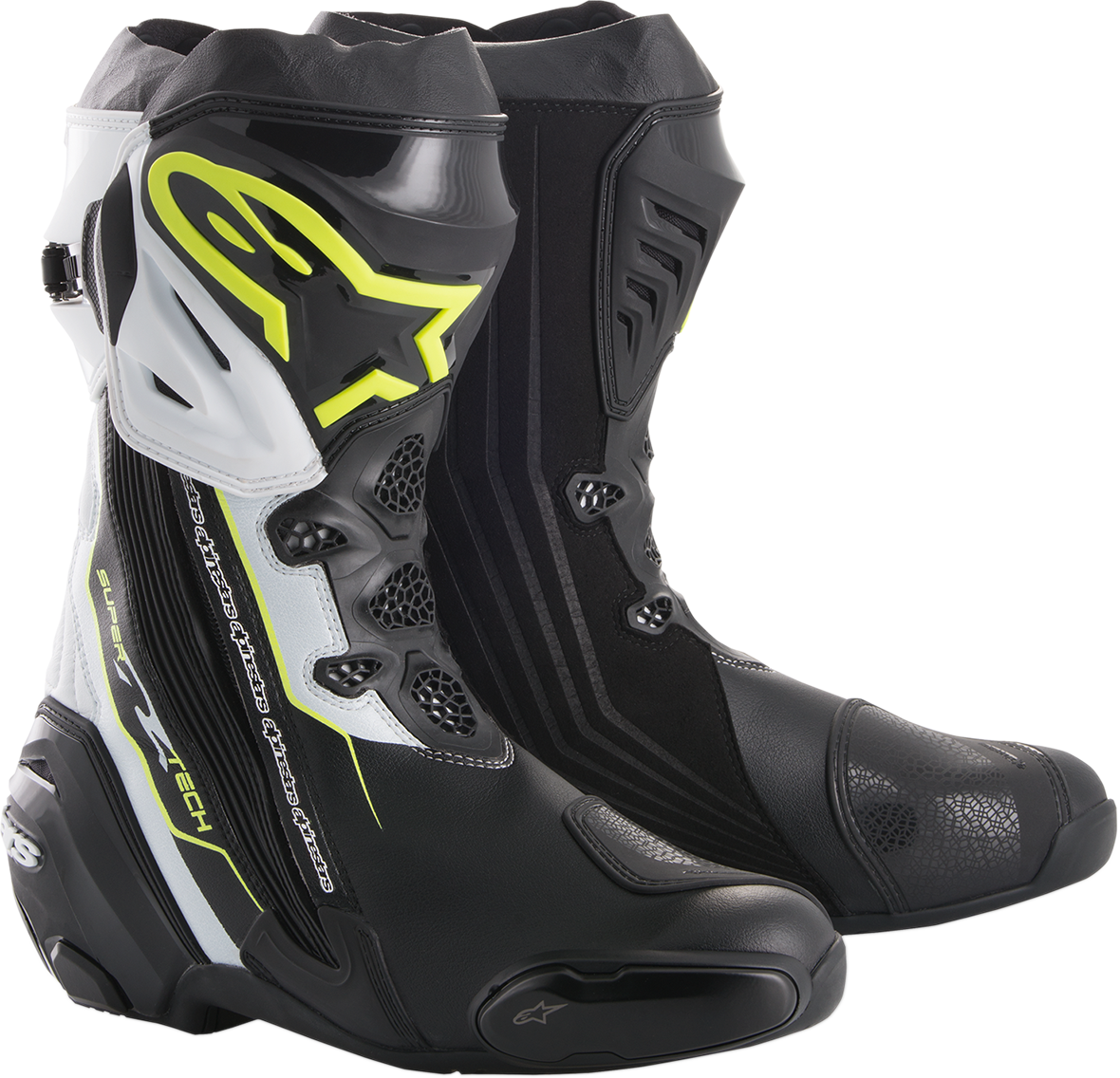 Alpinestars Mens Supertech R Textile Black White Yellow Motorcycle Racing Boots