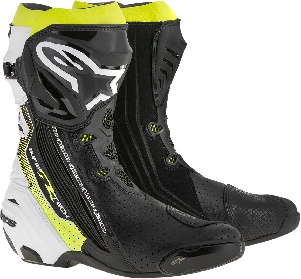 Mens Alpinestars Black Yellow White Textile Supertech R Motorcycle Racing Boots
