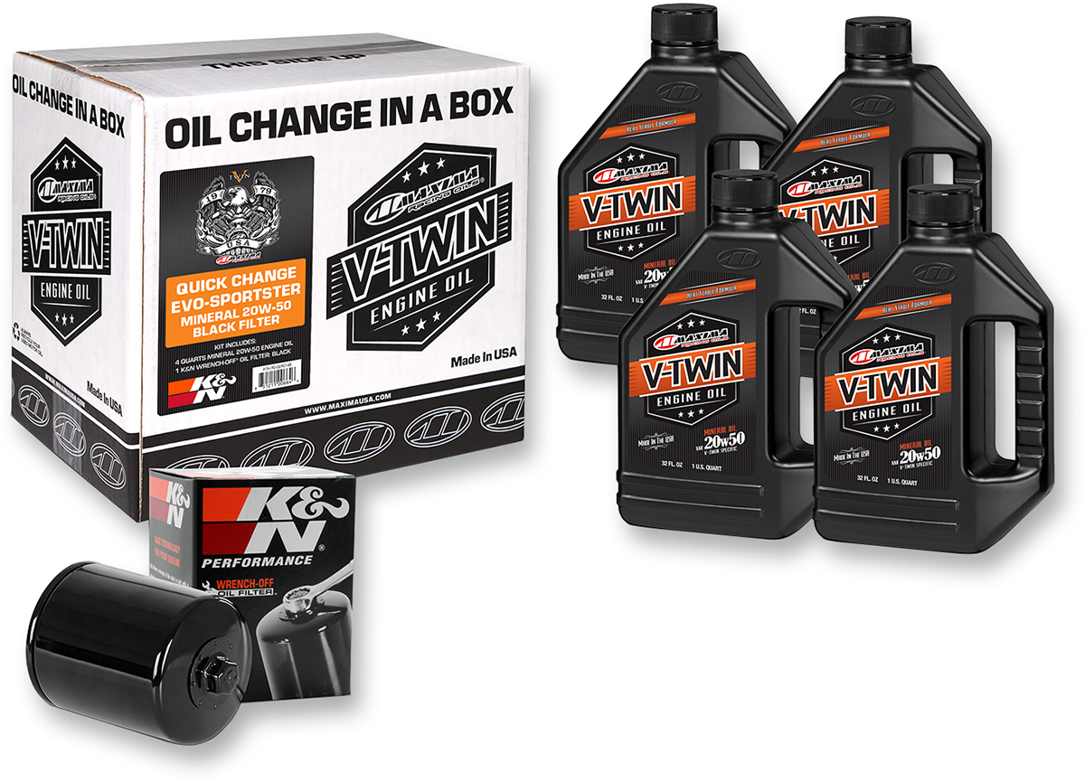 Maxima 20w50 Quick Oil Change Kit For 84-17 Harley Dyna Touring Softail XL