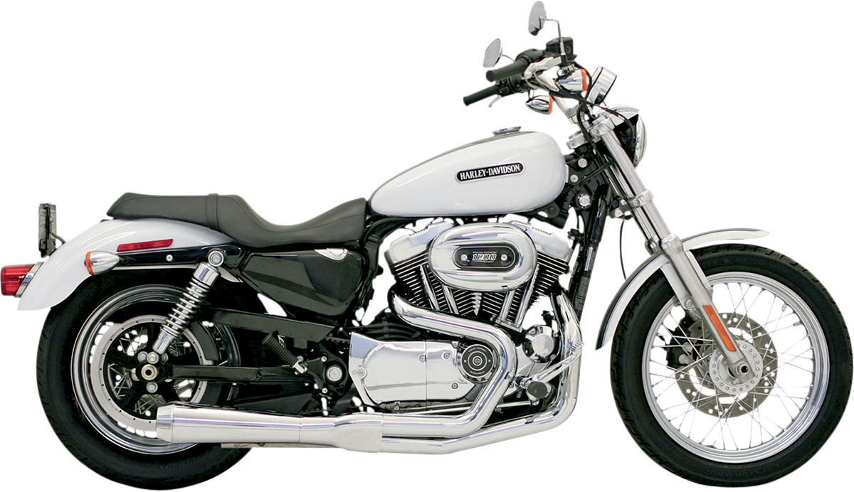 Bassani Chrome 2-1 Road Rage Megaphone Exhaust for 86-03 Harley Sportster XLH
