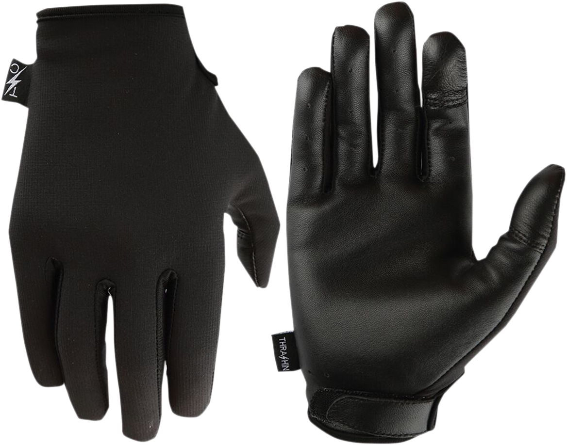 Thrashin Supply  Black Leather Textile Stealth Motorcycle Riding Street Gloves