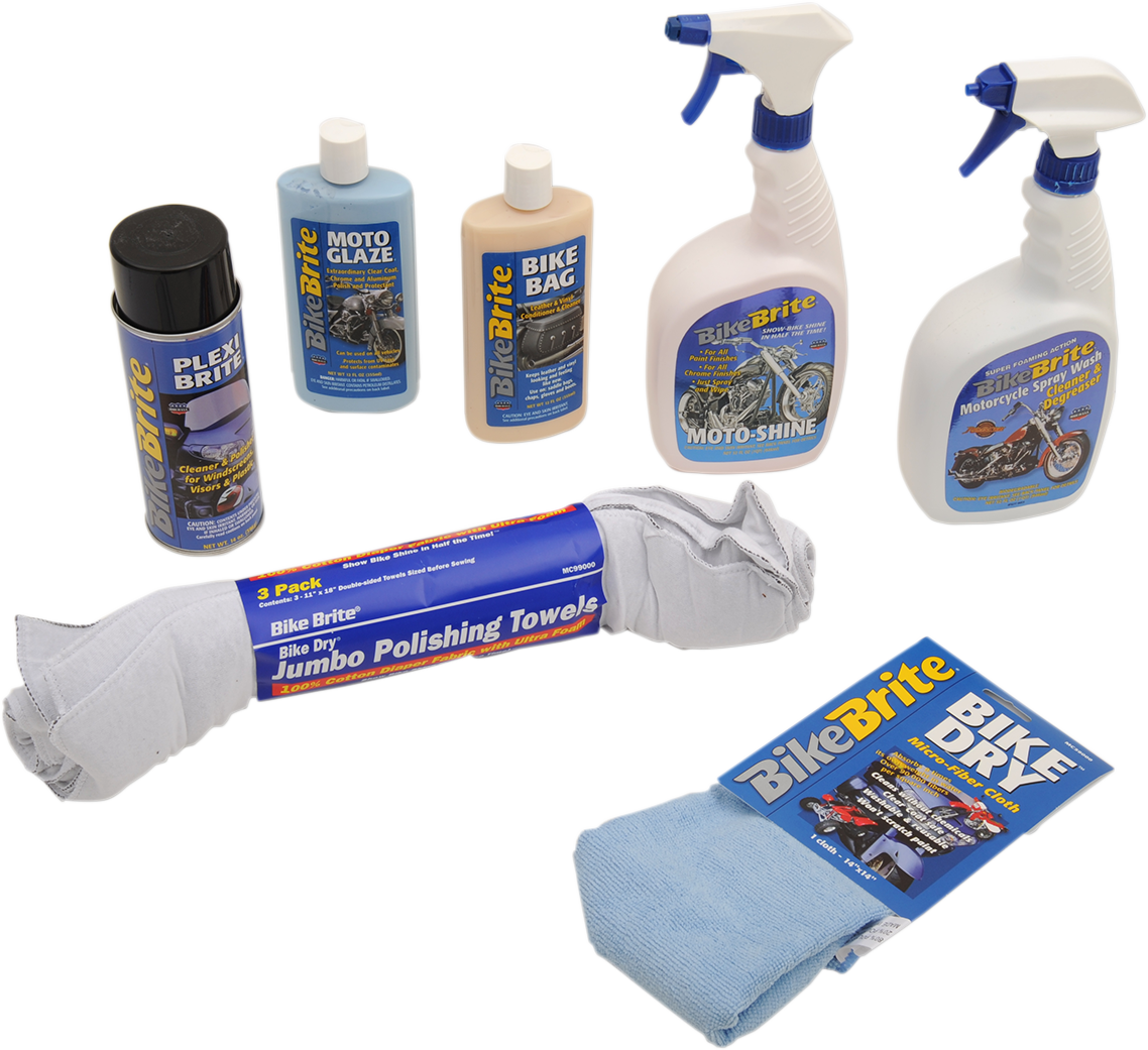 Bike Brite Motorcycle Dual Sport Wash Cleaner & Polisher Protectant Kit