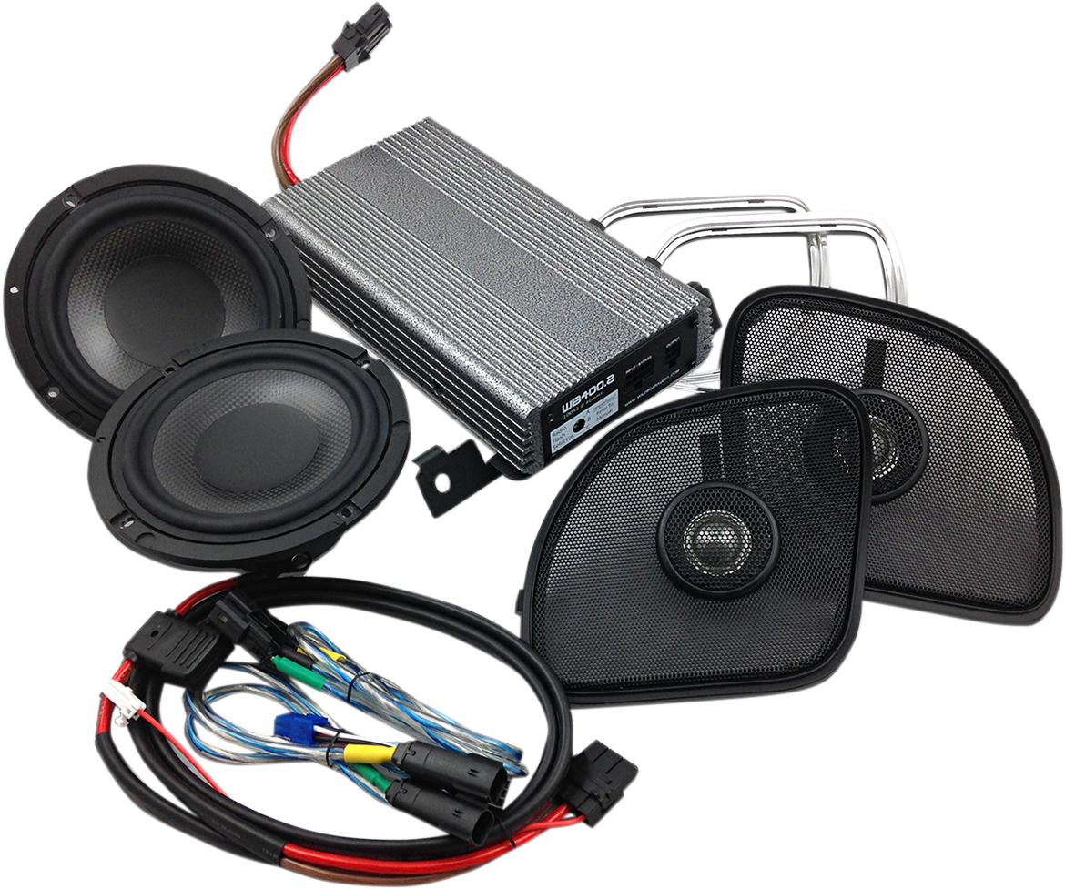 Wild Boar Black Front 400 Watt Amp & Speaker Kit For 15-19 Harley Touring FLTRU