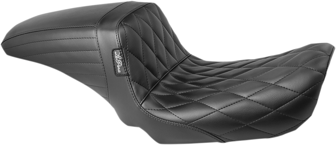 Le Pera Kickflip Black Diamond 2-Up Motorcycle Seat 06-17 Harley Dyna FXD FXDL