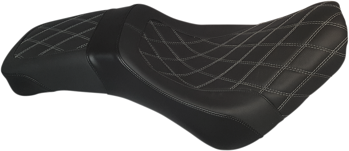 Danny Gray Black Weekday Vinyl Diamond Stitch Seat for 18-19 Harley Softail FLDE