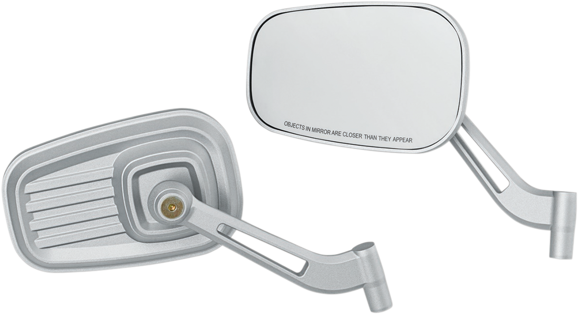 Kuryakyn 6654 Dillinger Silver Front Motorcycle Pair Mirrors for Harley Davidson
