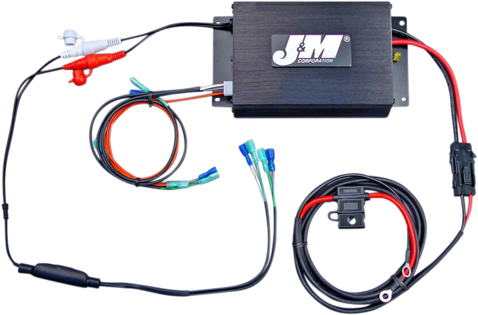 J&M Black 200 Watt 2 Channel Amplifier Kit 98-13 Harley Touring FLHT FLHX FLTR