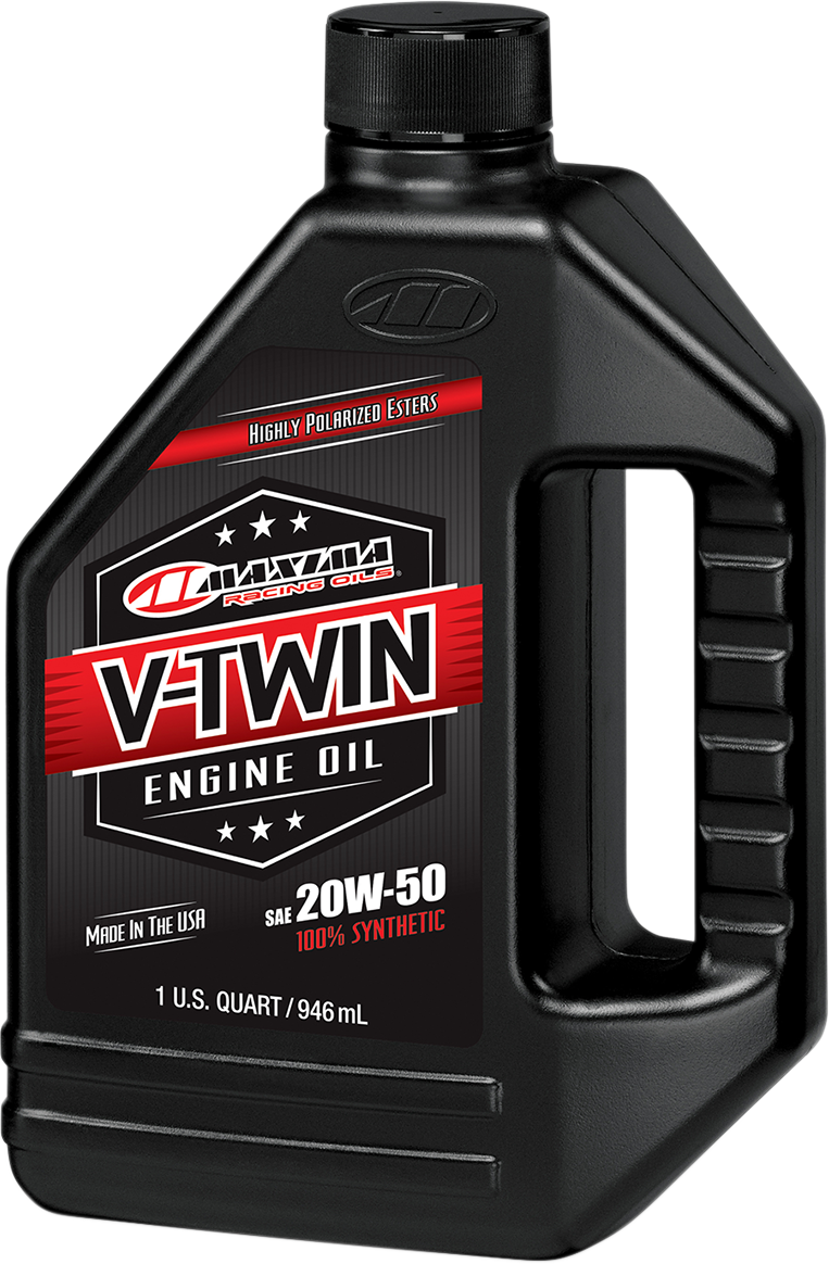 Maxima Racing 1 Quart Fully Synthetic 20W-50 Motorcycle V-Twin Engine Oil