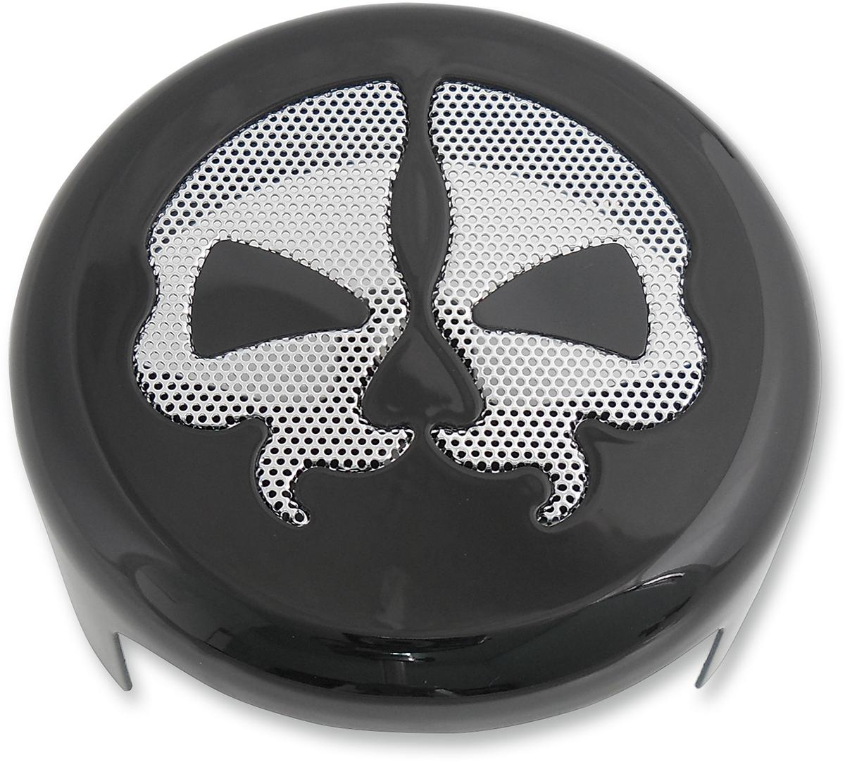 "Drag Specialties 4 5/8"" Powder Coated Steel Split Skull Motorcycle Horn Cover"