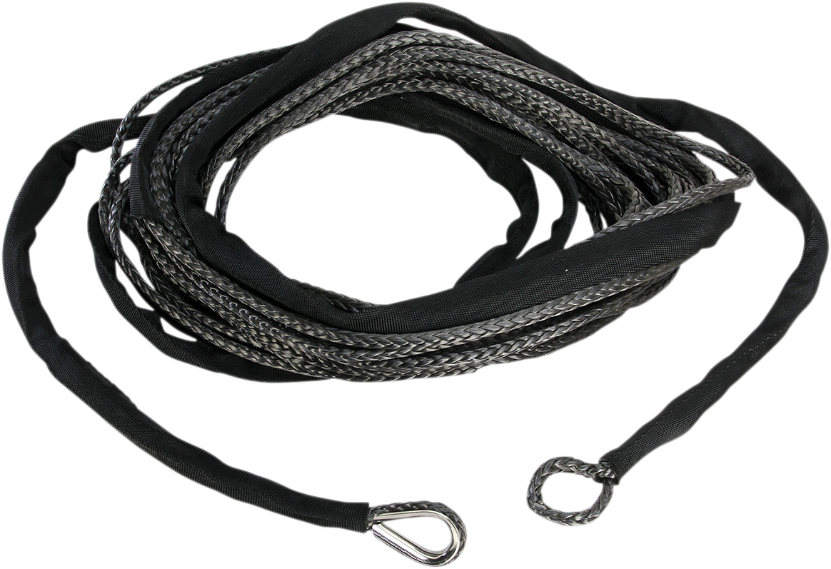 """Moose Utility Black 1/4"""" x 50' Synthetic Universal ATV Winch Rope Cable"""