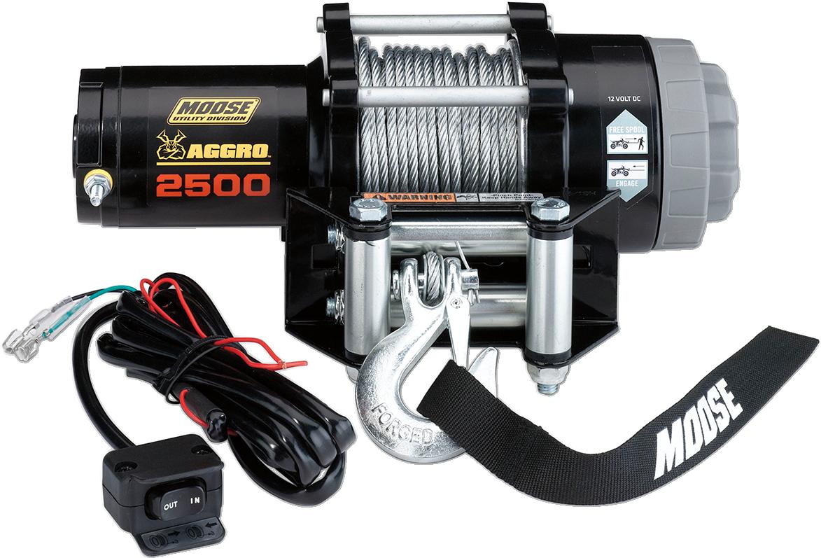 Moose Utility Black 2500 lb 50' Wire Rope Aggro UTV Winch