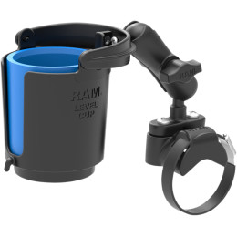 RAM HANDLEBAR RAIL MOUNT WITH U-BOLT BASE, LEVEL CUP™​​ DRINK HOLDER AND KOOZIE
