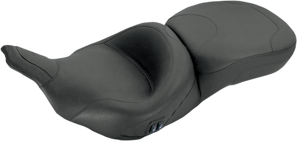 Mustang Black Vinyl Heated 2-Up Seat 97-07 Harley Touring FLHT FLHTC FLTR FLHTCU