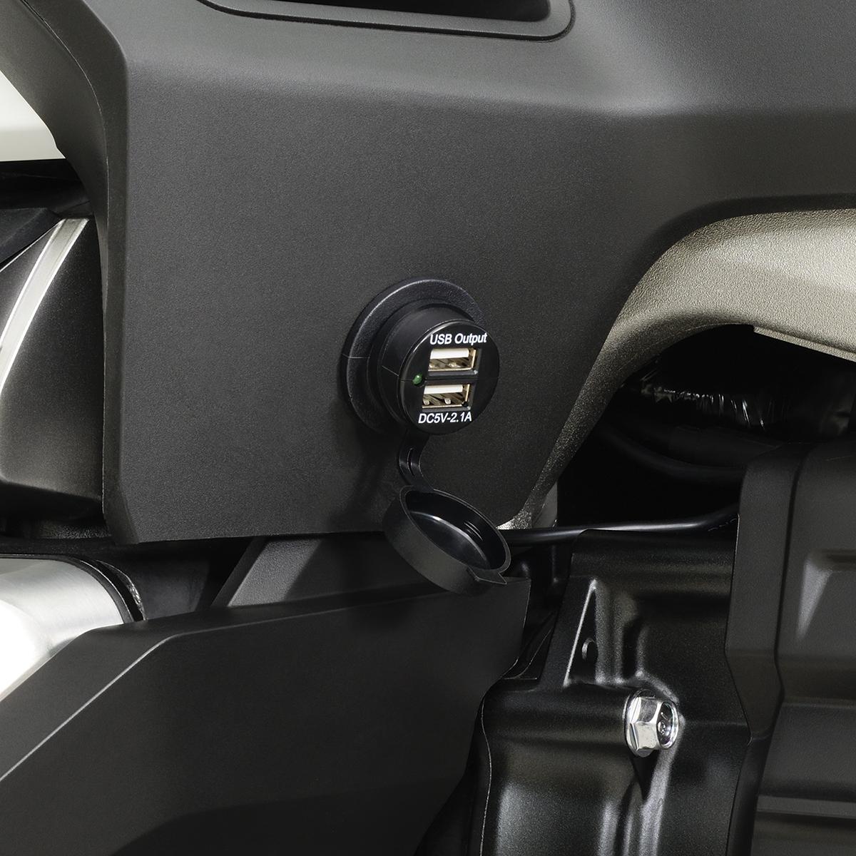 Show Chrome 2 Port USB Auxiliary Socket Kit for 18-19 Honda GL1800 Gold Wing