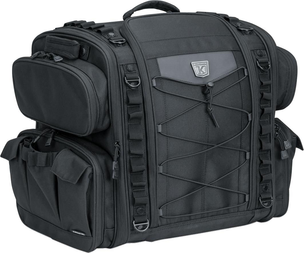 Kuryakyn 5284 Black Textile Momentum Road Warrior Rear Rack Bag for Harley