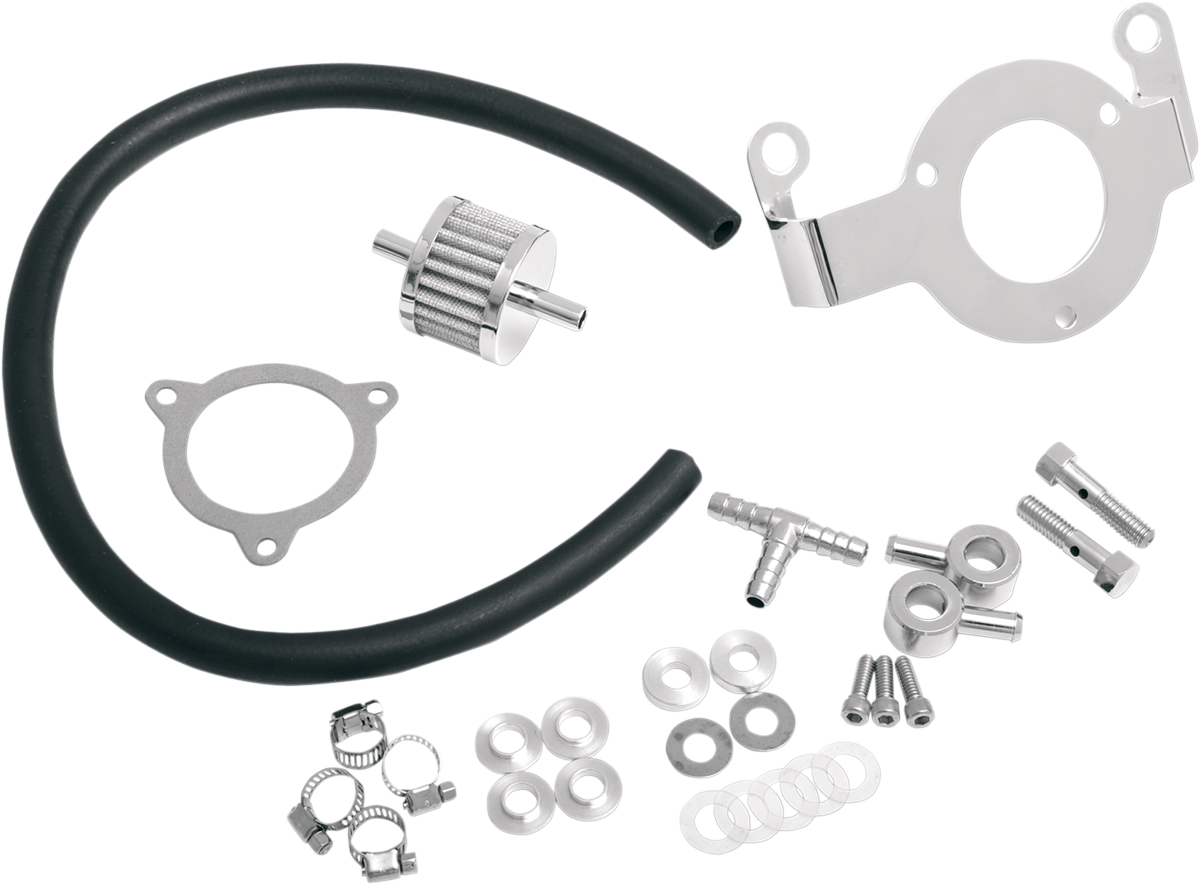 Drag Specialties Chrome Crankcase Breather Kit for 08-17 Harley Touring Softail