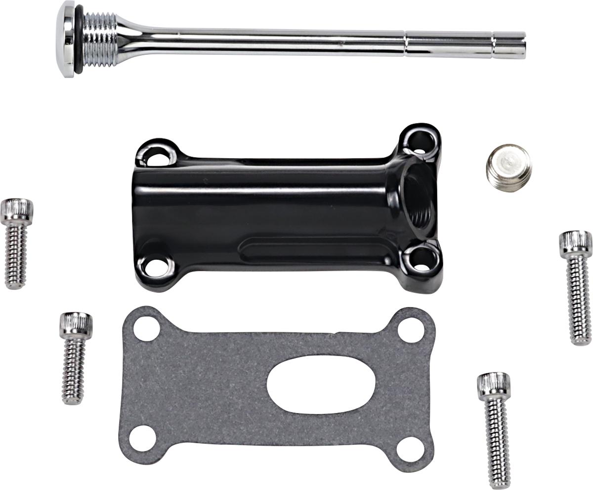 Drag Specialties Black Engine Oil Spout Kit 99-01 Harley Touring FLHR FLTR FLHT